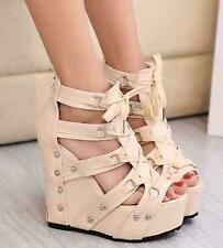 Womens Wedge Heels Platform Shoes Roman Open Toe High Strappy Lace Up Sandals SZ