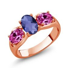 1.65 Ct Oval Checkerboard Blue Iolite Pink Created Sapphire 18K Rose Gold Ring
