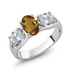1.70 Ct Oval Whiskey Quartz White Topaz 14K White Gold Ring