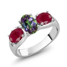2.00 Ct Oval Green Mystic Topaz Red Ruby 925 Sterling Silver Ring