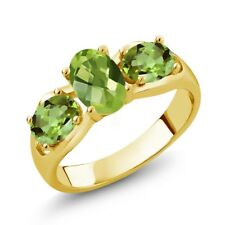 1.85 Ct Oval Checkerboard Green Peridot 18K Yellow Gold Ring