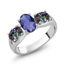 1.65 Ct Oval Checkerboard Blue Iolite Green Mystic Topaz 14K White Gold Ring
