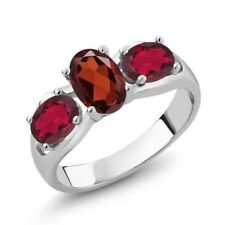 1.90 Ct Oval Red Garnet Red Mystic Topaz 925 Sterling Silver Ring