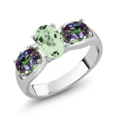1.75 Ct Oval Green Amethyst Green Mystic Topaz 925 Sterling Silver Ring