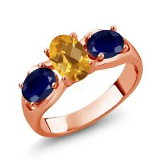 1.80 Ct Oval Checkerboard Yellow Citrine Blue Sapphire 18K Rose Gold Ring