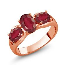 2.30 Ct Oval African Red Ruby 18K Rose Gold Ring