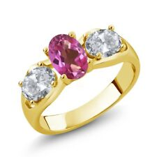 1.80 Ct Oval Pink Mystic Topaz White Topaz 14K Yellow Gold Ring