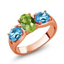 1.85 Ct Oval Checkerboard Green Peridot Swiss Blue Topaz 18K Rose Gold Ring