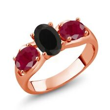 2.00 Ct Oval Black Onyx Red Ruby 18K Rose Gold Plated Silver Ring
