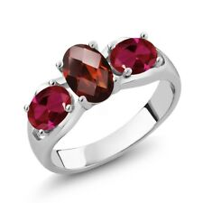 1.80 Ct Oval Checkerboard Red Garnet Red Created Ruby 18K White Gold Ring