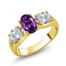 1.75 Ct Oval Purple Amethyst White Topaz 18K Yellow Gold Plated Silver Ring