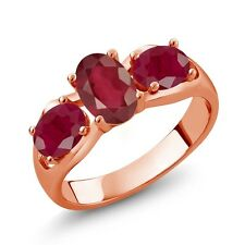 2.20 Ct Oval African Red Ruby Red Ruby 18K Rose Gold Ring