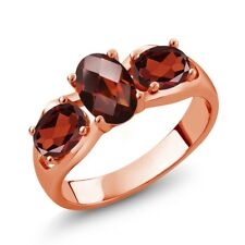 1.80 Ct Oval Checkerboard Red Garnet 18K Rose Gold Plated Silver Ring