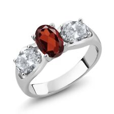 1.90 Ct Oval Red Garnet White Topaz 925 Sterling Silver Ring