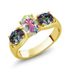 1.80 Ct Oval Mercury Mist Mystic Topaz Green Mystic Topaz 18K Yellow Gold Ring
