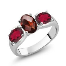1.80 Ct Oval Checkerboard Red Garnet Red Mystic Topaz 925 Silver Ring