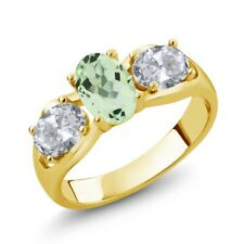 1.75 Ct Oval Green Amethyst White Topaz 18K Yellow Gold Plated Silver Ring