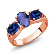 1.65 Ct Oval Checkerboard Blue Iolite Blue Simulated Sapphire 18K Rose Gold Ring