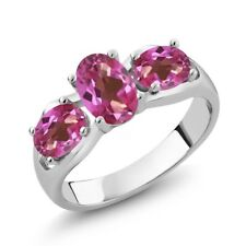1.80 Ct Oval Pink Mystic Topaz 925 Sterling Silver Ring