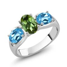 1.70 Ct Oval Green Tourmaline Swiss Blue Topaz 925 Sterling Silver Ring