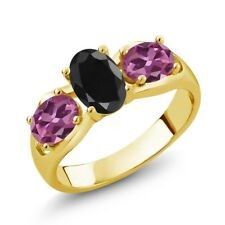 2.07 Ct Oval Black Sapphire Pink Tourmaline 18K Yellow Gold Plated Silver Ring