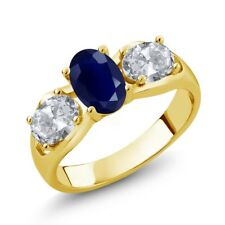 2.02 Ct Oval Blue Sapphire White Topaz 18K Yellow Gold Plated Silver Ring