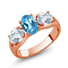 1.80 Ct Oval Swiss Blue Topaz Sky Blue Topaz 18K Rose Gold Plated Silver Ring
