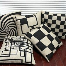 Simple Black Beige Grids Stripe Throw Pillow Case Decor Cushion Cover Square 18""