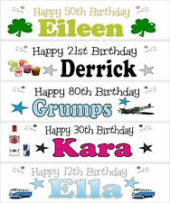 3ft Personalised 13th 16th 18th 21st 30th 40th 50th 60th 70th Birthday Banner