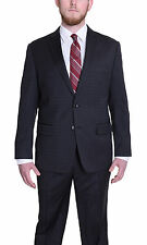 Mens Charcoal Gray Windowpane Two Button High Twist Wool Suit