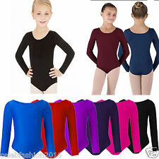 Child Girls kids Sleeved Dance Gymnastics Leotard Sports Stretchy Uniform Top