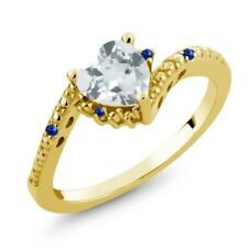 0.99 Ct Sky Blue Topaz Blue Sapphire 18K Yellow Gold Plated Silver Ring
