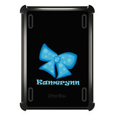 Monogrammed OtterBox Defender for ipad Mini / Air Light Blue Black Bow Ribbon