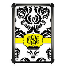 Monogrammed OtterBox Defender for ipad Mini / Air Black White Yellow Damask