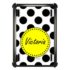 Monogrammed OtterBox Defender for ipad Mini / Air Black White Yellow Polka Dots