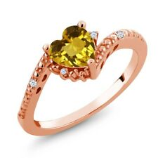 0.74 Ct Heart Shape Yellow Citrine White Topaz 18K Rose Gold Plated Silver Ring