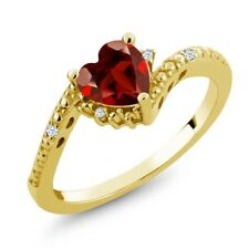 0.94 Ct Heart Shape Red Garnet White Topaz 18K Yellow Gold Plated Silver Ring
