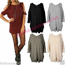 NEW WOMENS LADIES LONG BATWING TOP CUT OUT COLD SHOULDER LOOSE FIT TUNIC DRESS