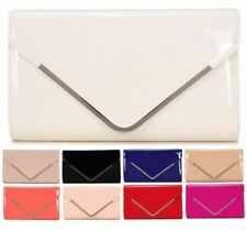 NEW LADIES PATENT SILVER TRIM ENVELOPE PARTY BRIDAL EVENING PROM CLUTCH BAG