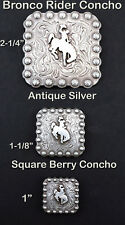 CONCHOS LOT OF 6 PC WESTERN BRONCO RIDER SQUARE BERRY ANTIQUE SILVER 3 SIZES NEW