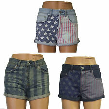 Denim shorts cotton USA flag print hot pants rolled hems Size 4 6 8 10 12