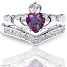 Heart Irish Celtic Alexandrite Claddagh Wedding Engagement Silver Two Ring Set