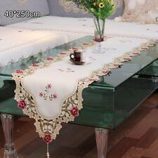 Quality Vintage Floral Embroidery Cutwork Tassel Home Wedding Table Runner #8