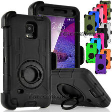 Rugged Hybrid Hard Case Cover + Belt Clip Holster For SAMSUNG Galaxy Note 4 N910