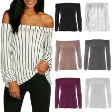 Womens Ladies Off Shoulder Stripe Cuffed Long Sleeve Swing Top Blouse Bardot