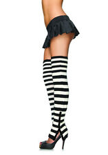 Leg Avenue 3915 Striped Extra Long Leg Warmers With Side Snap Detail