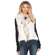 Ladies 100% Fur Vest Raccoon Fur Collar Hand Knitted Rabbit Fur Waistcoat V0102