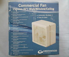 """GREENWOOD 6"""" COMMERCIAL WALL/WINDOW FAN AUTOMATIC SHUTTERS PULL CORD CE150PC"""