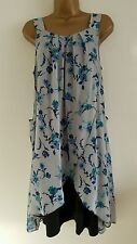NEW Plus Size 16-32 Duckegg Blue Grey Chiffon Layered Floral Tunic Dress Top