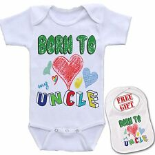 """ Born To Love my Uncle ""Custom Baby onesie bodysuit boutique & Matching Bib Set"